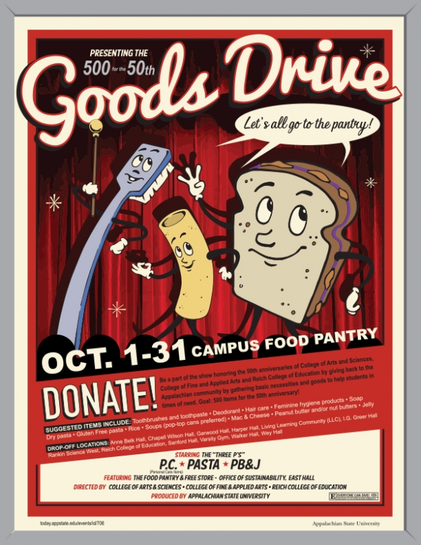 Goods Drive Flyer with a toothbrush, elbow noodle, and pb&j sandwich on it