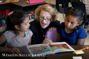 App State Chancellor reads along with children from Middle Fork Academy